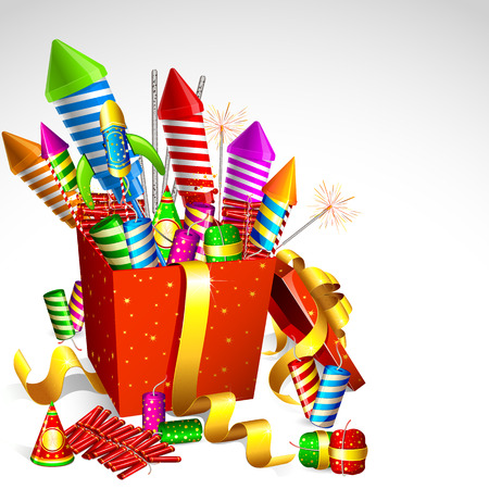 Pyrotechnics in the box. Fireworks in the box. Festive fireworks. Fireworks Birthday. Pyrotechnics for the new year. Stock Illustratie