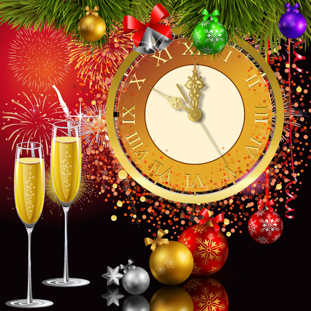 Time for the new year. 5 minutes to the new year. Met the new year with champagne. Christmas chimes. Illustration
