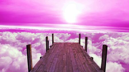 Above the sky. Mooring. Berth of heaven. Rozovoe sky.