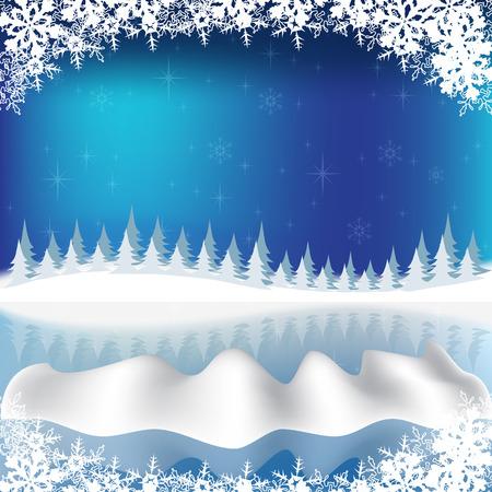 Rink in winter. Winter landscape. Festive winter background. Vector