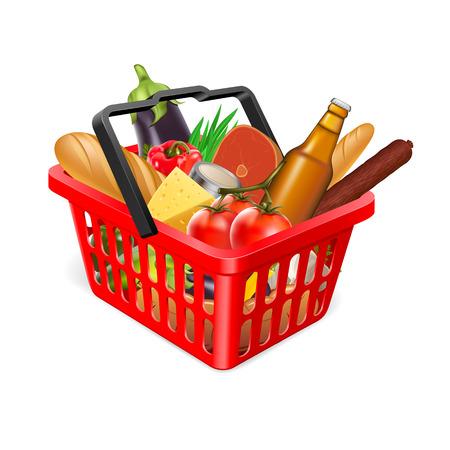 スーパー マーケットからショッピングカート。食物と一緒にバスケット。スーパー マーケットで食料を購入します。  イラスト・ベクター素材