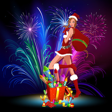 Lady Santa Claus with a bag of gifts. Lady Santa with fireworks. At Christmas fireworks from Lady Santa. Vector