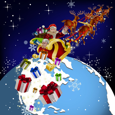 Santa Claus around the world. Santa delivers gifts on Christmas night. Santa Claus in deer buckle on Earth. Vector