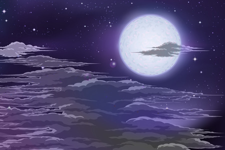 The moon behind the clouds. Planet of the clouds. Moon from space. Space landscape. Ilustração