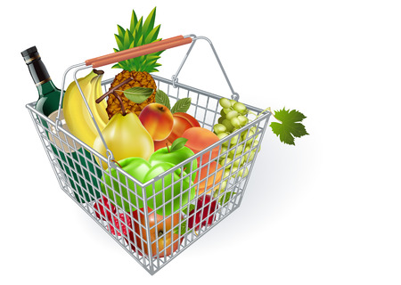 Metal fruit basket. Basket of fruit in the supermarket. Fruits in the supermarket. Buying fruit. Vector