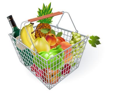 Metal fruit basket. Basket of fruit in the supermarket. Fruits in the supermarket. Buying fruit. Vector