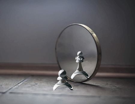 3d image: Pawn in the mirror sees the Queen. High self-esteem. Metaphors. Megalomania.
