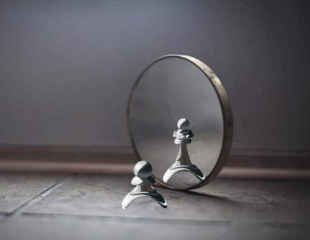 Pawn nello specchio vede la Regina. Alta autostima. Metafore. Megalomania. Archivio Fotografico - 33453819