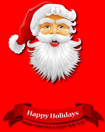 Congratulations on holidays. New Year greetings. Congratulations on Christmas. Happy Holidays from Santa. Vector