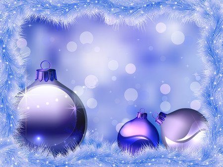 side effect: Christmas blue background. Christmas decorations on a Christmas tree. Blue rain and Christmas balls.
