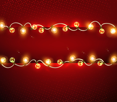 Holiday garlands. Christmas lights on a red background. Svityaschi Christmas garlands.