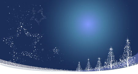 Winter blue background. Festive blue background. Abstract winter landscape. Abstraction Christmas trees and stars. Vector