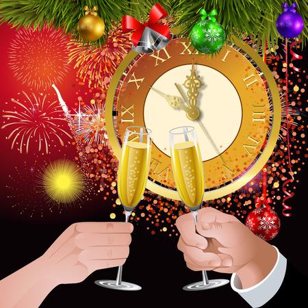 新しい年に乾杯。新しいロックへ 5 分。女と男のお祝いのメガネに発生します。