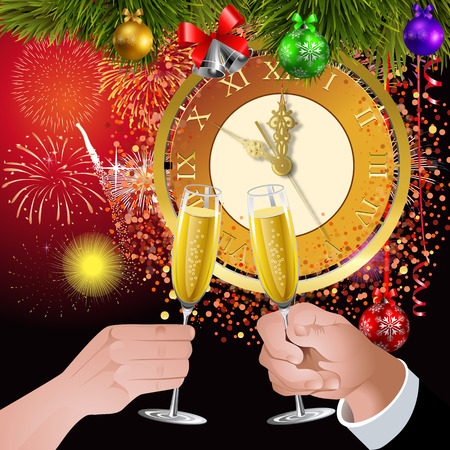 A toast to the new year. Five minutes to the new rock. Woman and man raised glasses at celebration. Vector