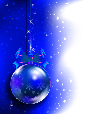 Blue toy on the Christmas tree. Blue New Year background. New Year - Christmas composition. Vector