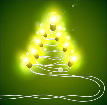 Garland in the form of trees. Christmas tree with garlands. Festive lights. Christmas garlands. Vector