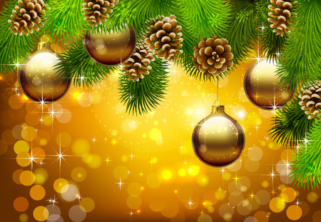 Christmas background. Background new year. Twigs tree with cones and ornaments for the Christmas tree. Vector