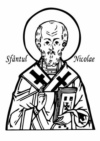 St. Nicholas. Bust of St. Nicholas. Portrait of St. Nicholas. Stencil St. Nicholas. Vector