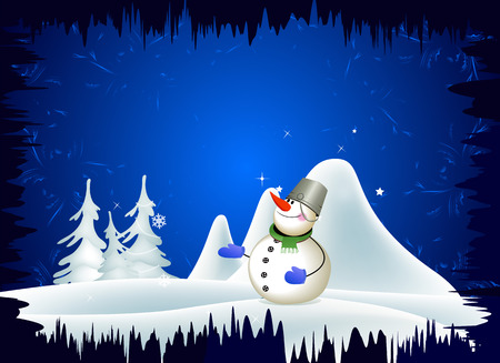 Snowman on the background of a winter landscape. Winter. Snowy winter landscape. Vector