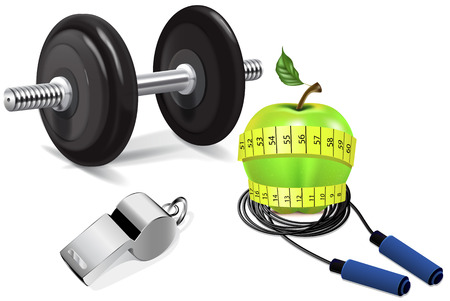 Fitness Culture. Gym. Healthy food. The sports diet. Illustration