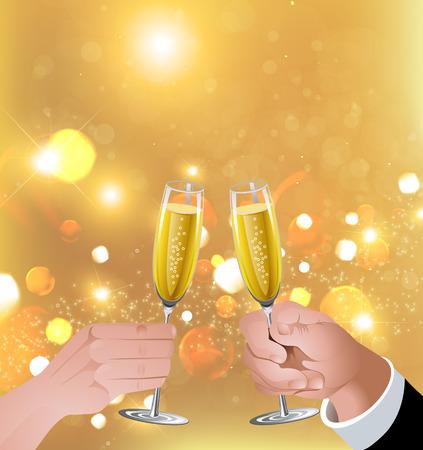 pareja comiendo: El hombre y la mujer levantando copas. Copas de champán. Copas de vino blanco. Toast.