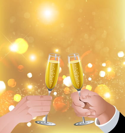 Man and woman raising glasses. Glasses of champagne. Glasses of white wine. Toast.