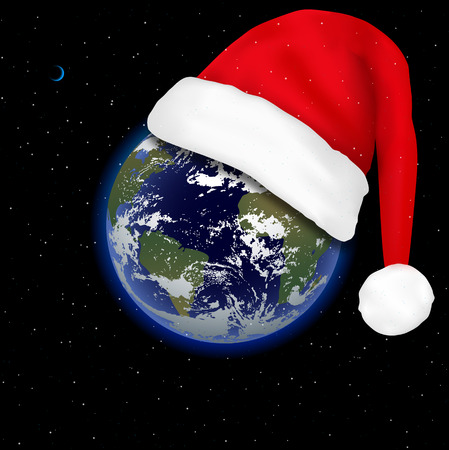 Christmas is coming. The holiday is approaching. New Year in space. Earth in space and cap of Santa Claus. Vector
