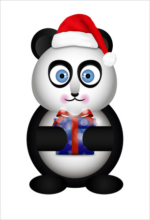 Panda Santa Claus. Panda in the cap of Santa Claus. Panda with Christmas gifts. Illustration
