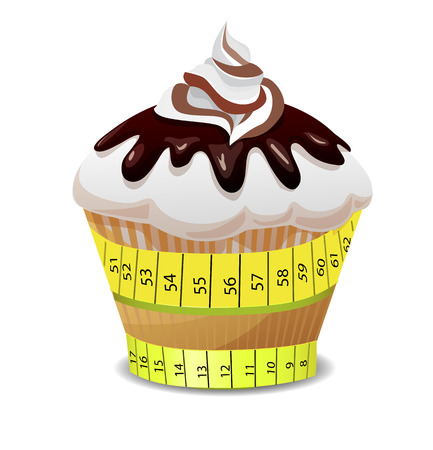 Dietary dessert. Calorie cake. From sweet fat. Dietary products. Vector