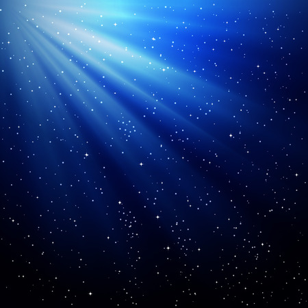 Rays of light. The starry sky. Star Lights. Heavenly background. Ilustração