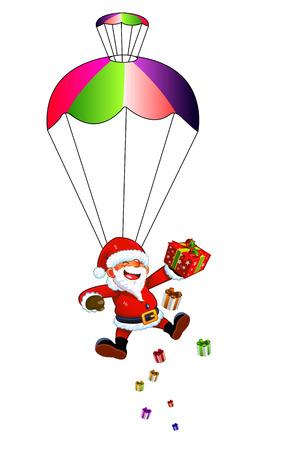 Santa Claus with a parachute. Paratrooper Santa Claus. Christmas landing.