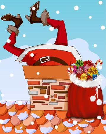 Santa Claus stuck in the chimney. Santa on Christmas night. Santa Claus distributes gifts. Vector