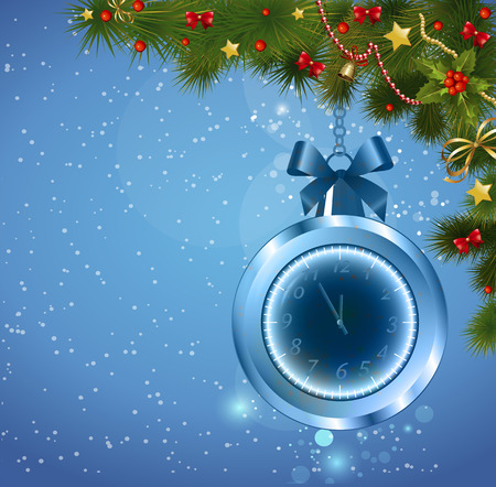 12 o'clock: Christmas ball clock. In five minutes the new year. Background new year. Illustration
