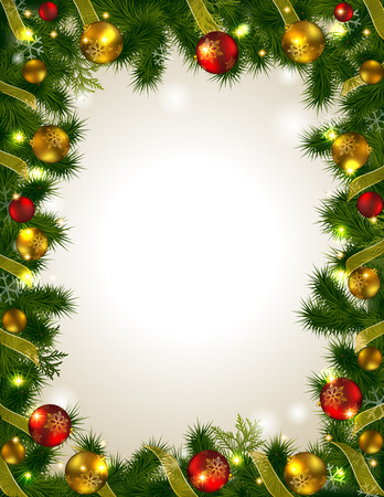 Frame with Christmas tree branches. Place for inscription surrounded the tree. Christmas twigs decorated with festive outfits. Vector