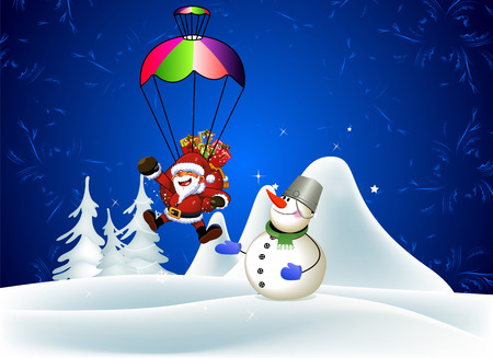 Snowman. Santa Claus with a parachute. Winter holiday landscape. Vector