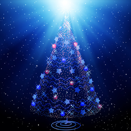 two dimensional shape: Christmas Tree. Abstract tree on the starry sky. Blue Christmas background. The composition of the new year.