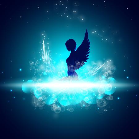 Sexy engel. Hemel Stock Illustratie