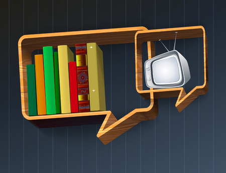 ntsc: Shelf with books. TV on the shelves. Media technology. Self-development. Illustration
