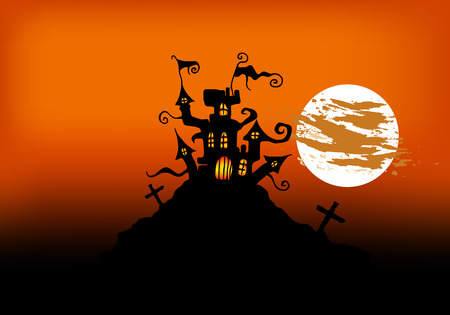 Castle on a cliff. Castle in the background of the full moon. Creepy castle. Mystical landscape. Vector