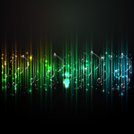 lighting effects musician: Abstract background music. Sound technology. Background notes. The tone of the sound. Illustration