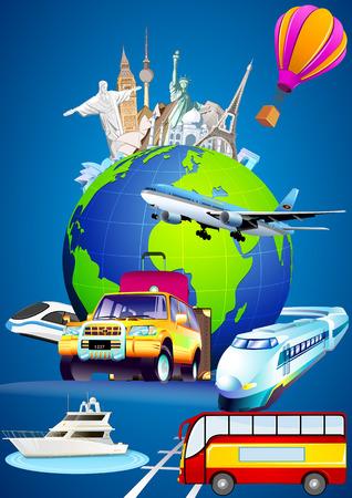 La vuelta al mundo. Viaje alrededor del mundo. Tipos de transporte para el viaje. Tours de las siete maravillas del mundo. Foto de archivo - 34583215
