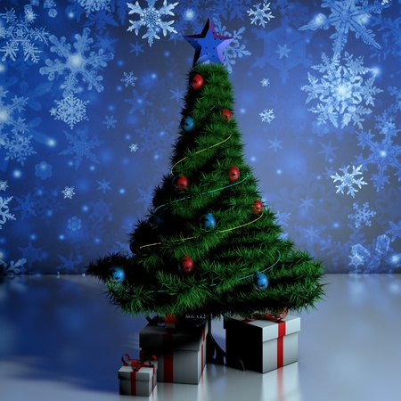 girl lying studio: Gifts under the tree. Christmas Tree. Natural tree festive new year.
