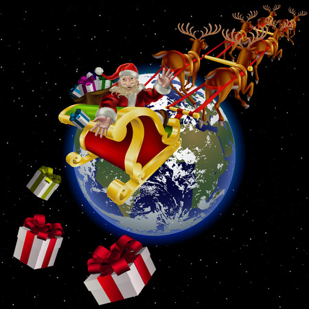 Christmas night. Santa Claus flies over the Earth. Santa on Christmas night. Vector