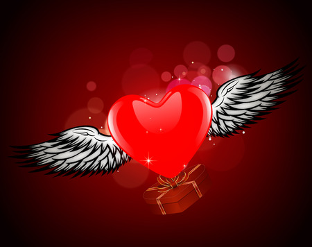 Heart with wings. Abstract Composition Valentines Day. Abstract heart with angel wings. Heart with a gift. Vector
