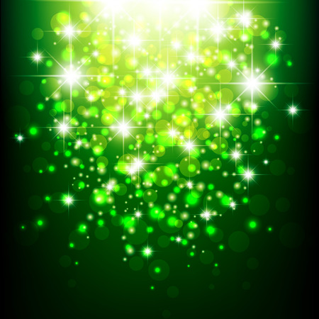 Green background with bokeh. Green blurred background. Green lights. Vector