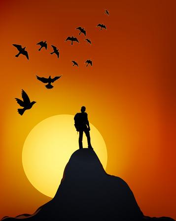 クライマーは山の上に。岩の上の男。崖の上への旅。