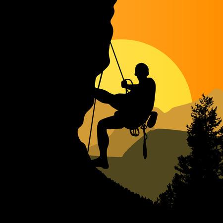 bergsteiger: Mountaineer. Bergsteiger klettert auf einem Felsen. Bergsteiger auf Sonnenuntergang Hintergrund. Illustration
