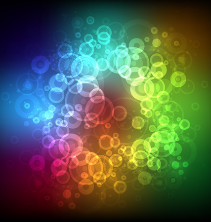 Abstract glowing bubbles. The color gradient background. All the colors of the rainbow. Color Palette. Vector