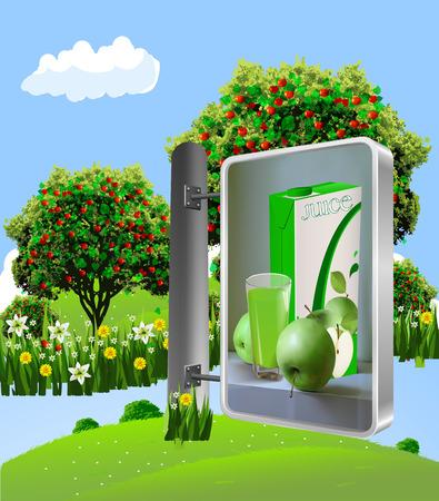 Billboard. Advertising apple juice. Billboard on the background of apple orchard. Vector