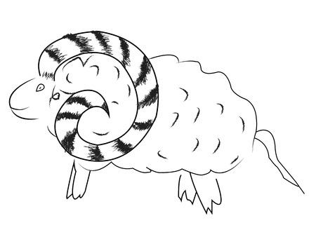 Stencil sheep. Year goat. Logo the sheep.